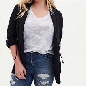 🆕Black Modal Fleece Anorak Jacket 2X 18 20 Torrid